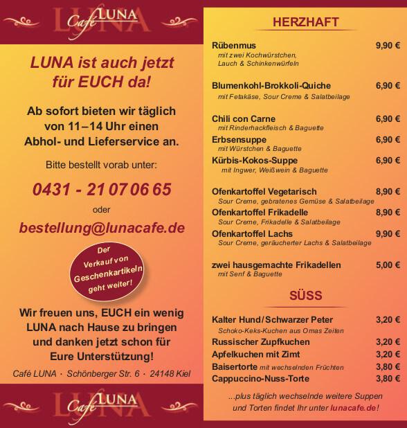 Außer-Haus-Angebot Café LUNA